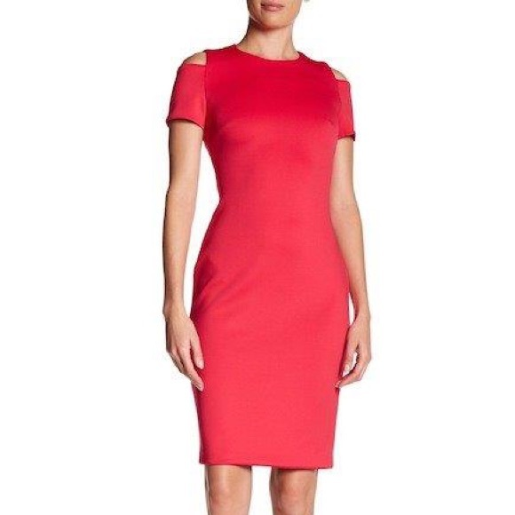 1efc7e6e Calvin Klein Dresses | Nwt Cold Shoulder Sheath Scuba Dress | Poshmark